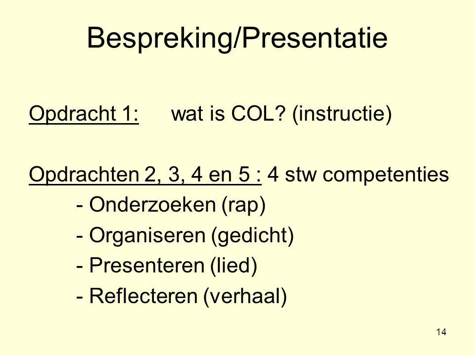Bespreking/Presentatie