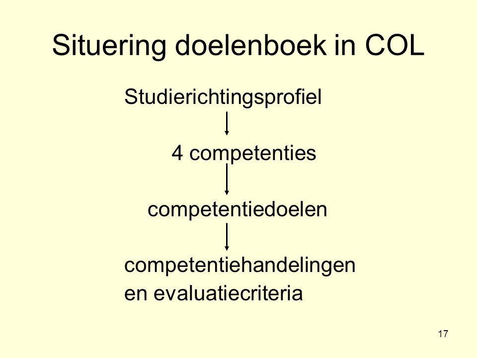 Situering doelenboek in COL
