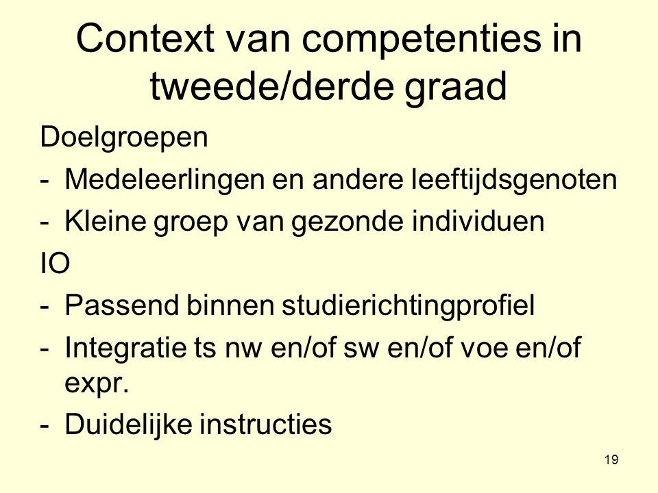 Context van competenties in tweede/derde graad