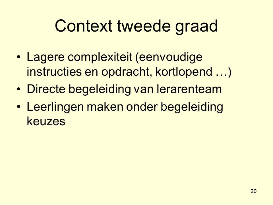 Context tweede graad Lagere complexiteit (eenvoudige instructies en opdracht, kortlopend …) Directe begeleiding van lerarenteam.
