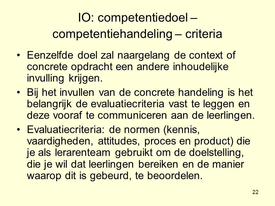 IO: competentiedoel – competentiehandeling – criteria
