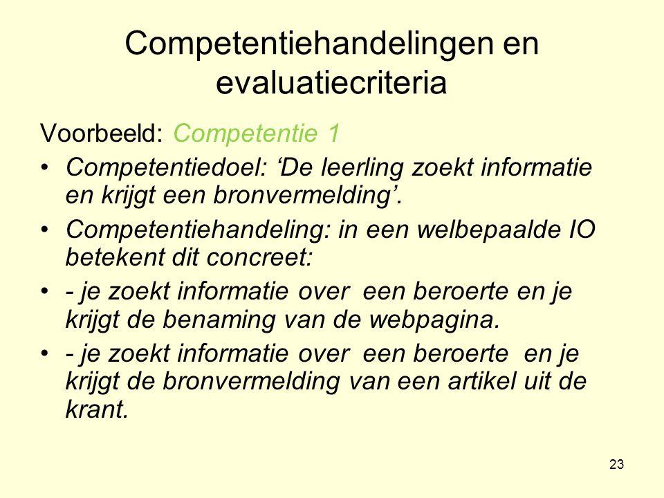 Competentiehandelingen en evaluatiecriteria