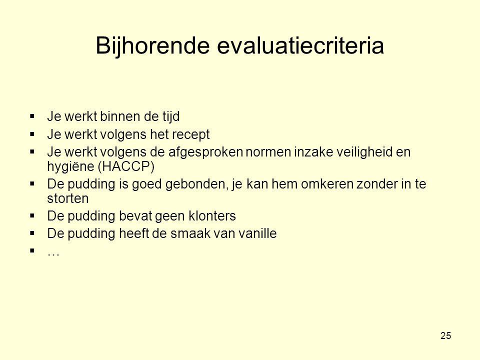 Bijhorende evaluatiecriteria