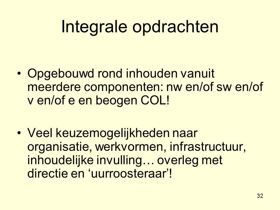 Integrale opdrachten Opgebouwd rond inhouden vanuit meerdere componenten: nw en/of sw en/of v en/of e en beogen COL!