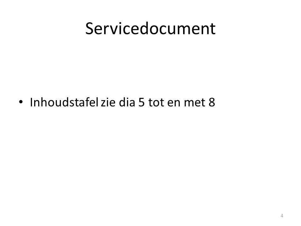 Servicedocument Inhoudstafel zie dia 5 tot en met 8