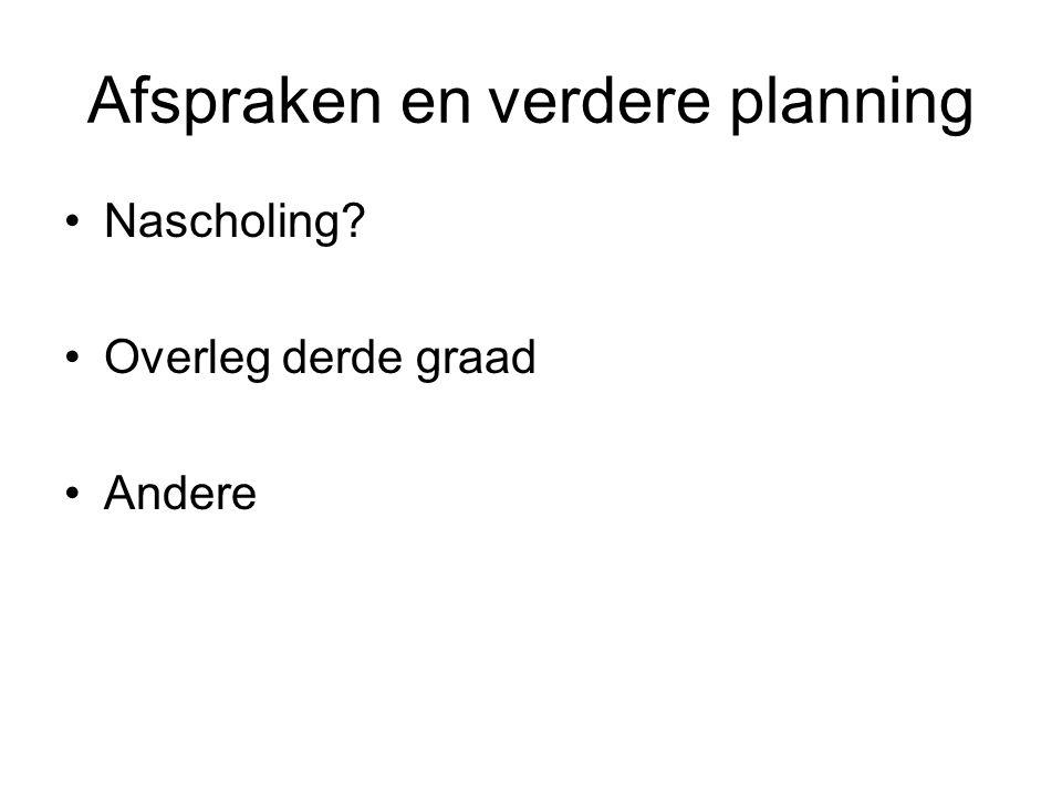 Afspraken en verdere planning