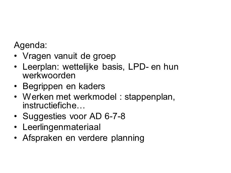 Agenda: Vragen vanuit de groep. Leerplan: wettelijke basis, LPD- en hun werkwoorden. Begrippen en kaders.