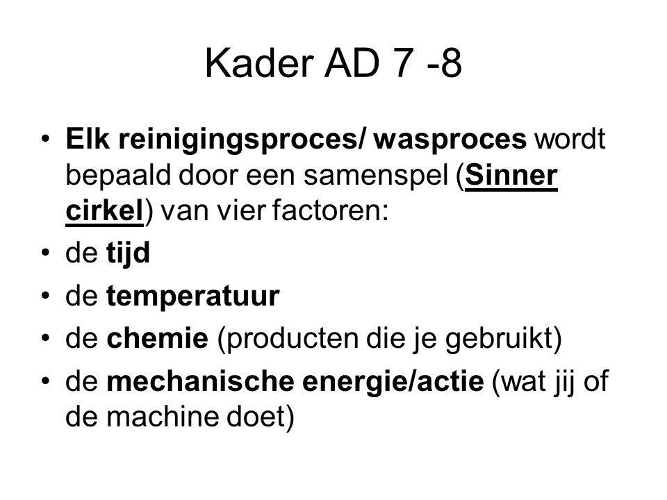 Kader AD 7 -8 Elk reinigingsproces/ wasproces wordt bepaald door een samenspel (Sinner cirkel) van vier factoren:
