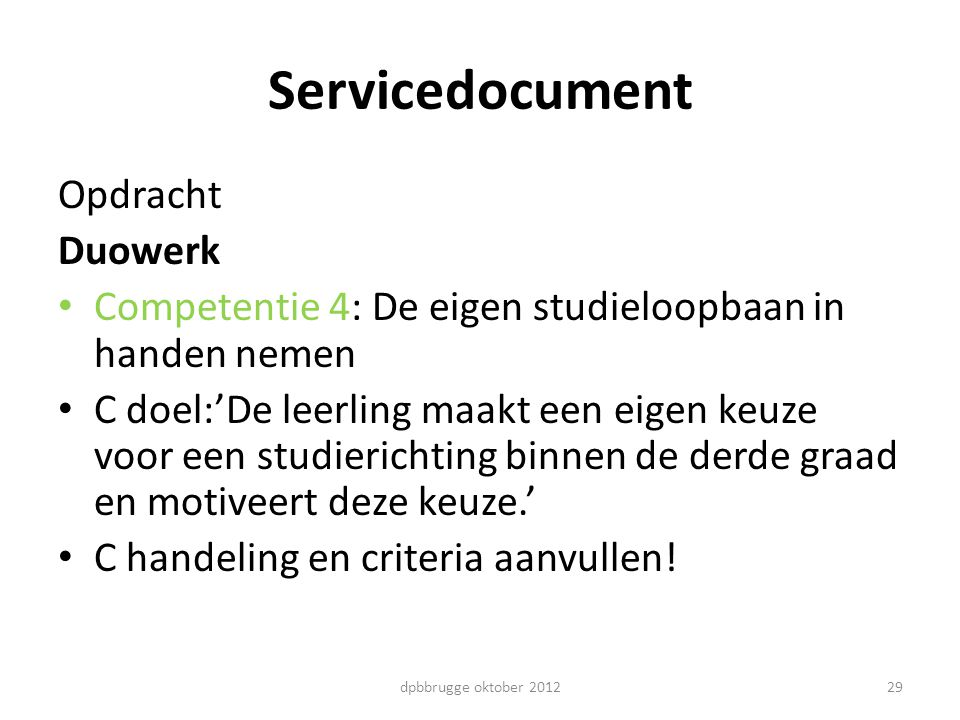 Servicedocument Opdracht Duowerk