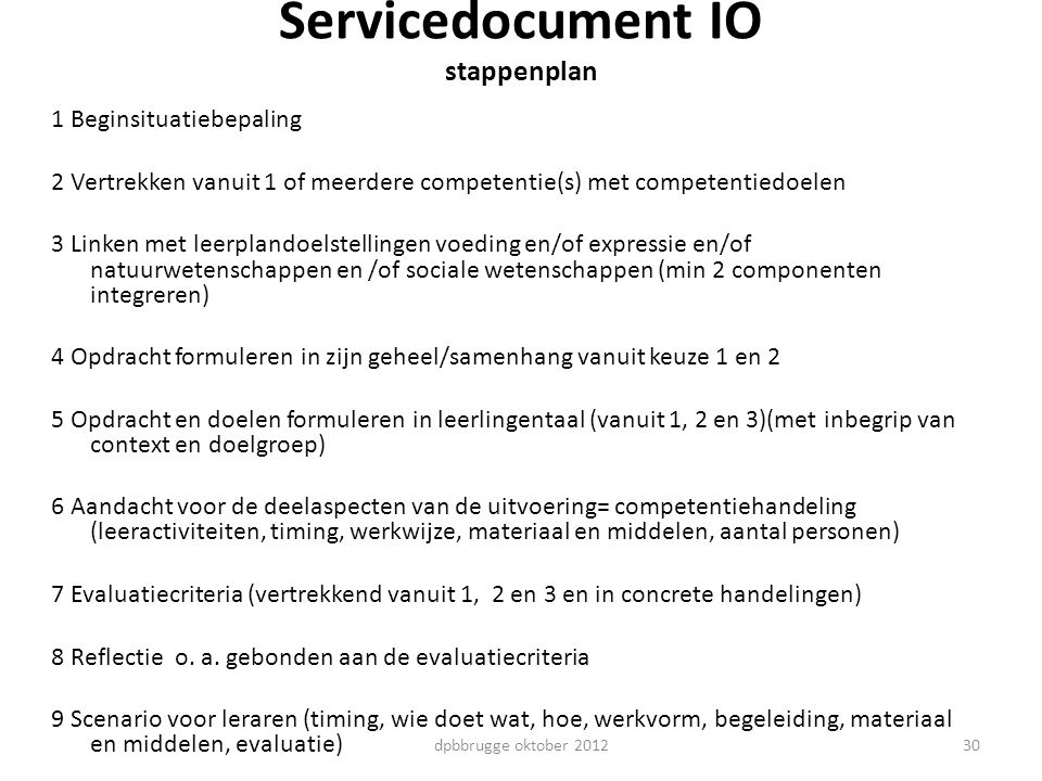 Servicedocument IO stappenplan