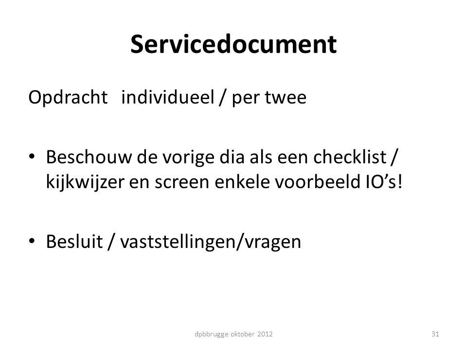 Servicedocument Opdracht individueel / per twee
