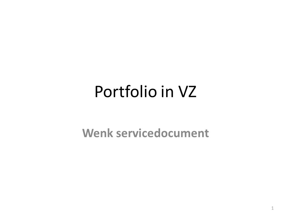 Portfolio in VZ Wenk servicedocument