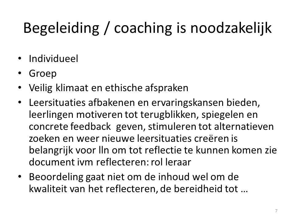 Begeleiding / coaching is noodzakelijk
