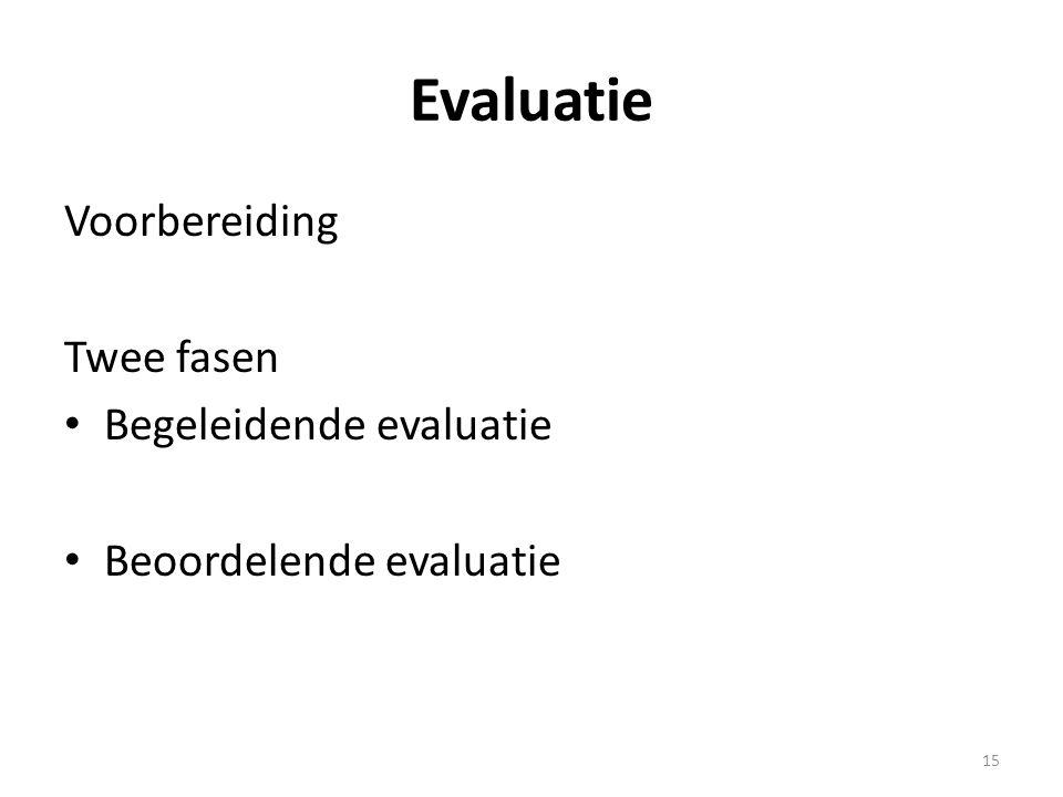 Evaluatie Voorbereiding Twee fasen Begeleidende evaluatie