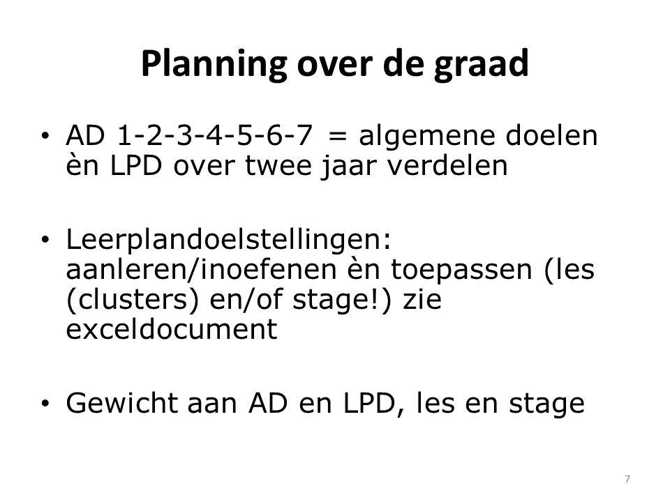 Planning over de graad AD 1-2-3-4-5-6-7 = algemene doelen èn LPD over twee jaar verdelen.
