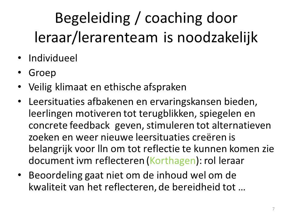 Begeleiding / coaching door leraar/lerarenteam is noodzakelijk