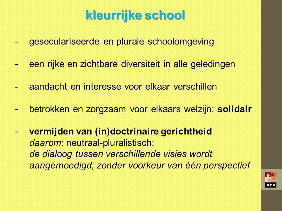 kleurrijke school geseculariseerde en plurale schoolomgeving
