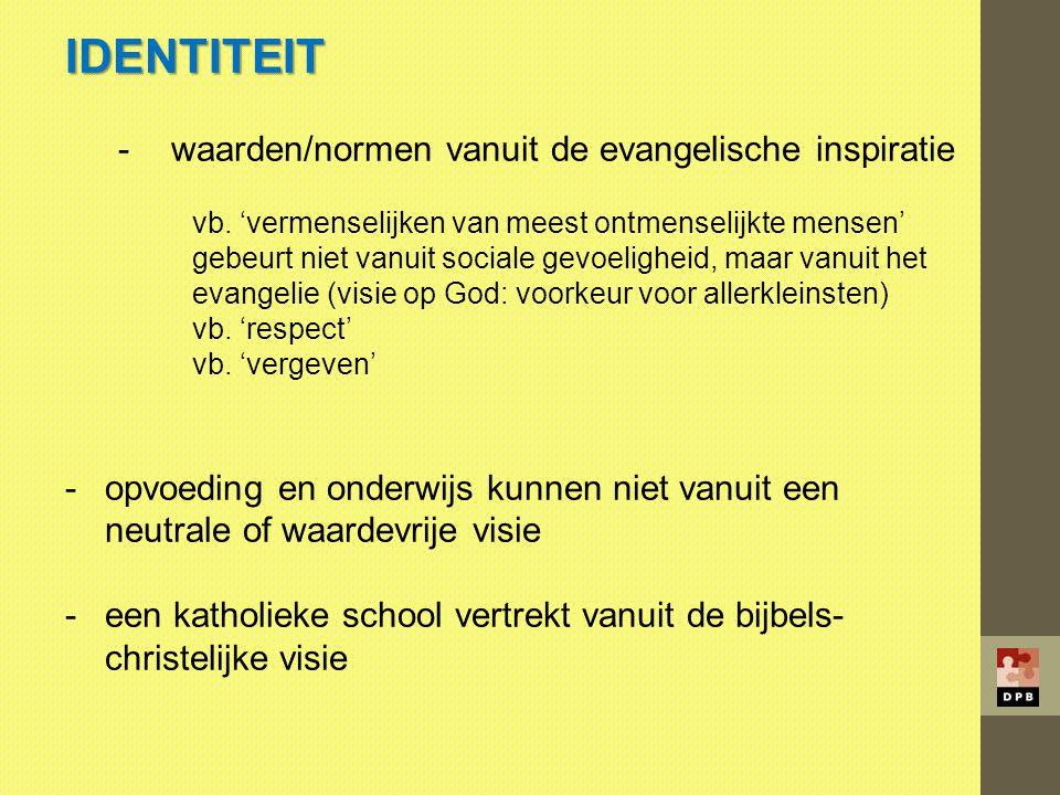 IDENTITEIT waarden/normen vanuit de evangelische inspiratie