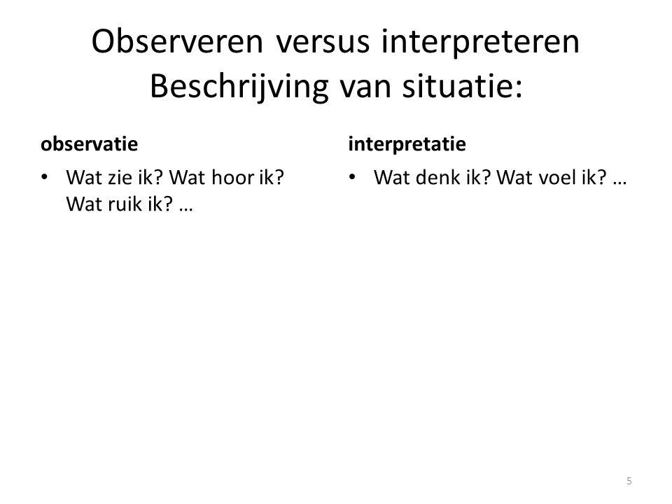Observeren versus interpreteren Beschrijving van situatie: