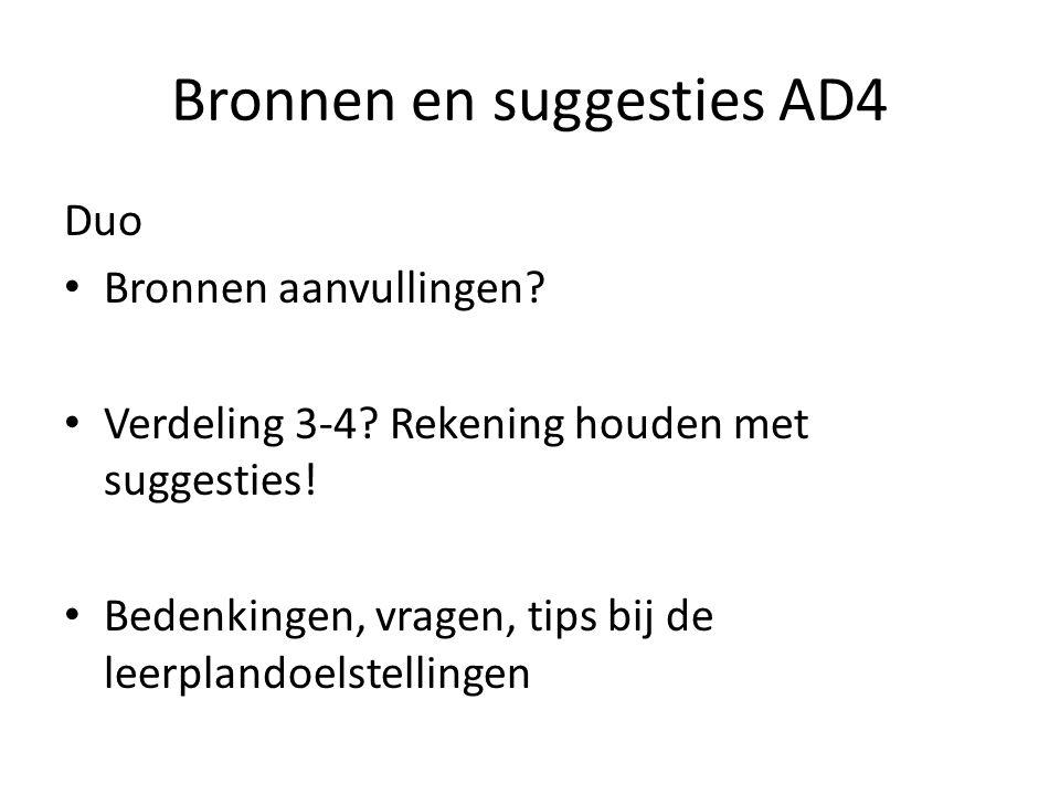 Bronnen en suggesties AD4