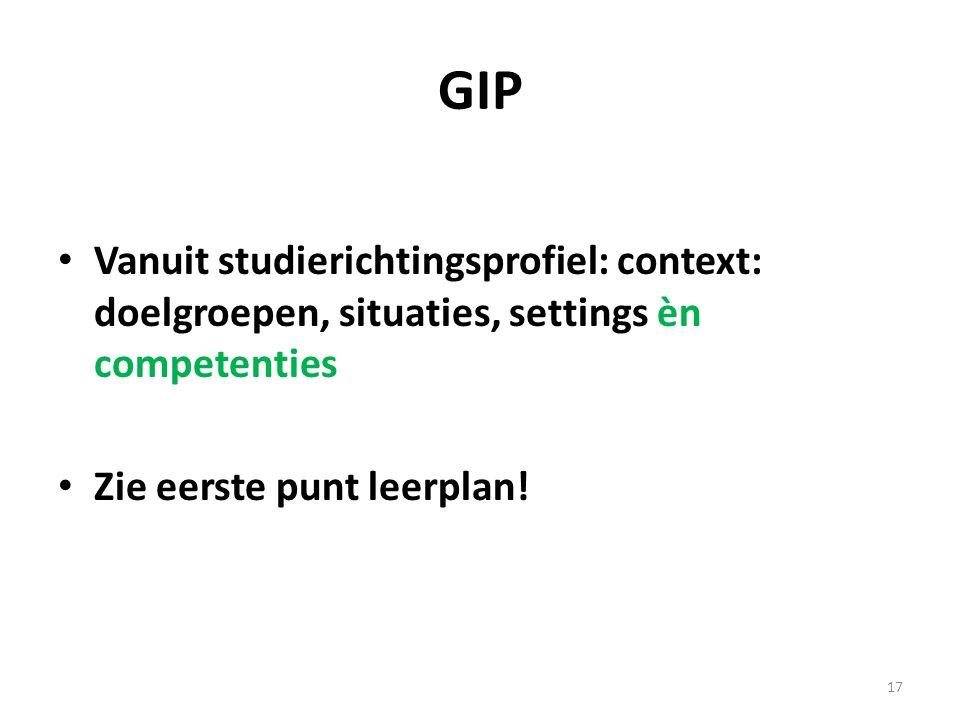 GIP Vanuit studierichtingsprofiel: context: doelgroepen, situaties, settings èn competenties.