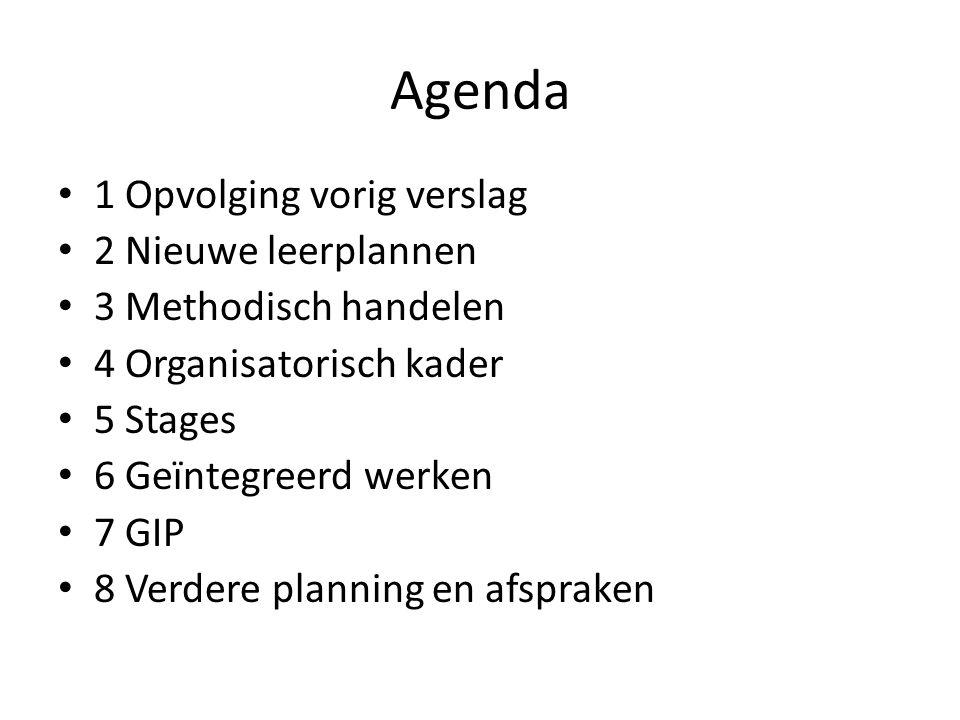 Agenda 1 Opvolging vorig verslag 2 Nieuwe leerplannen
