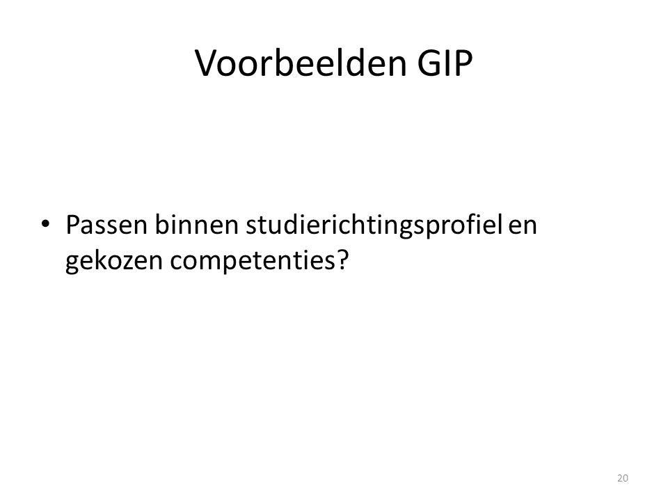 Voorbeelden GIP Passen binnen studierichtingsprofiel en gekozen competenties