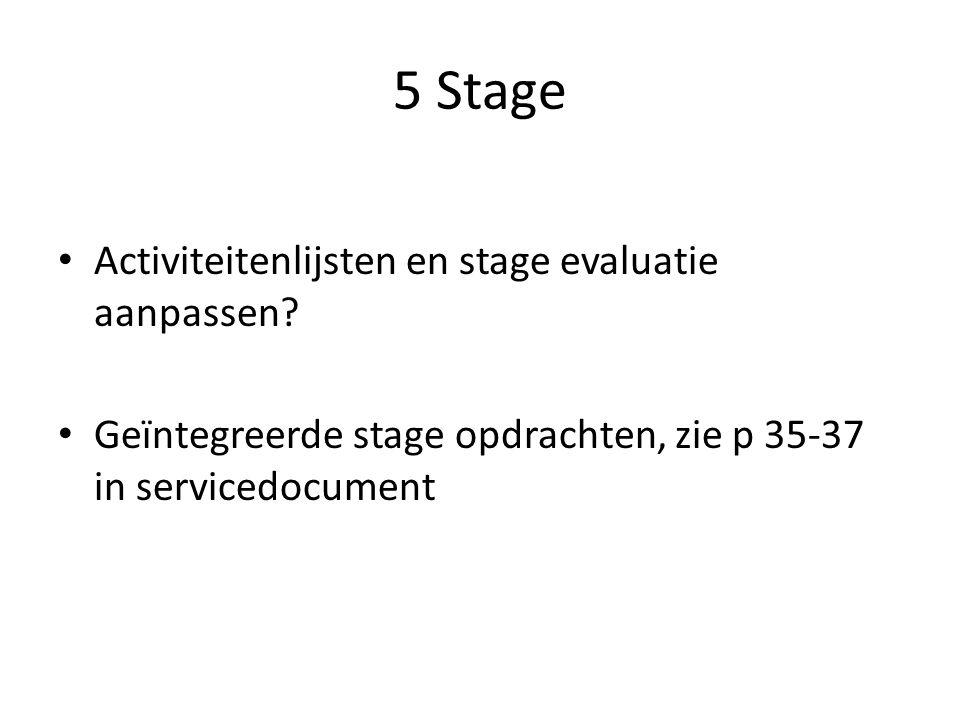 5 Stage Activiteitenlijsten en stage evaluatie aanpassen