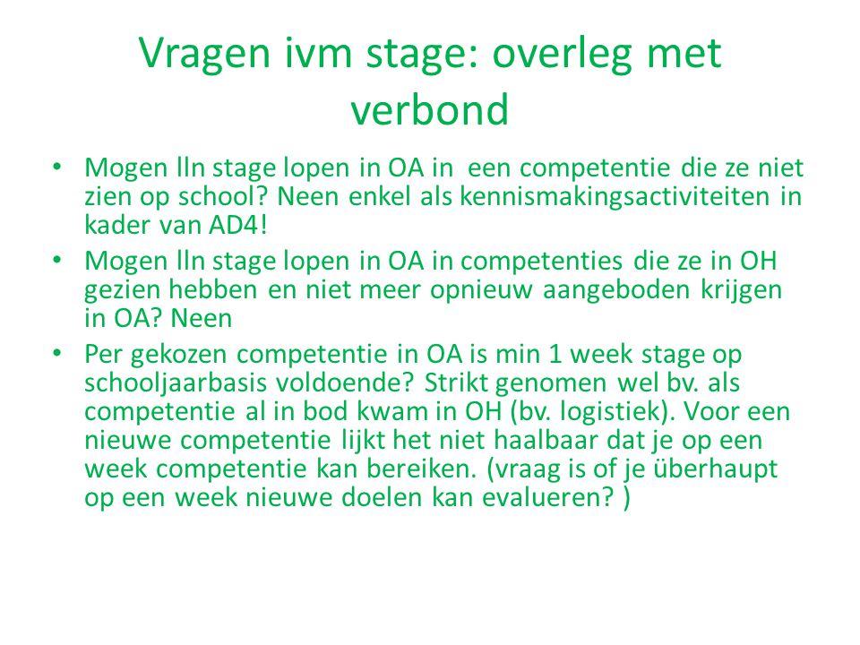 Vragen ivm stage: overleg met verbond