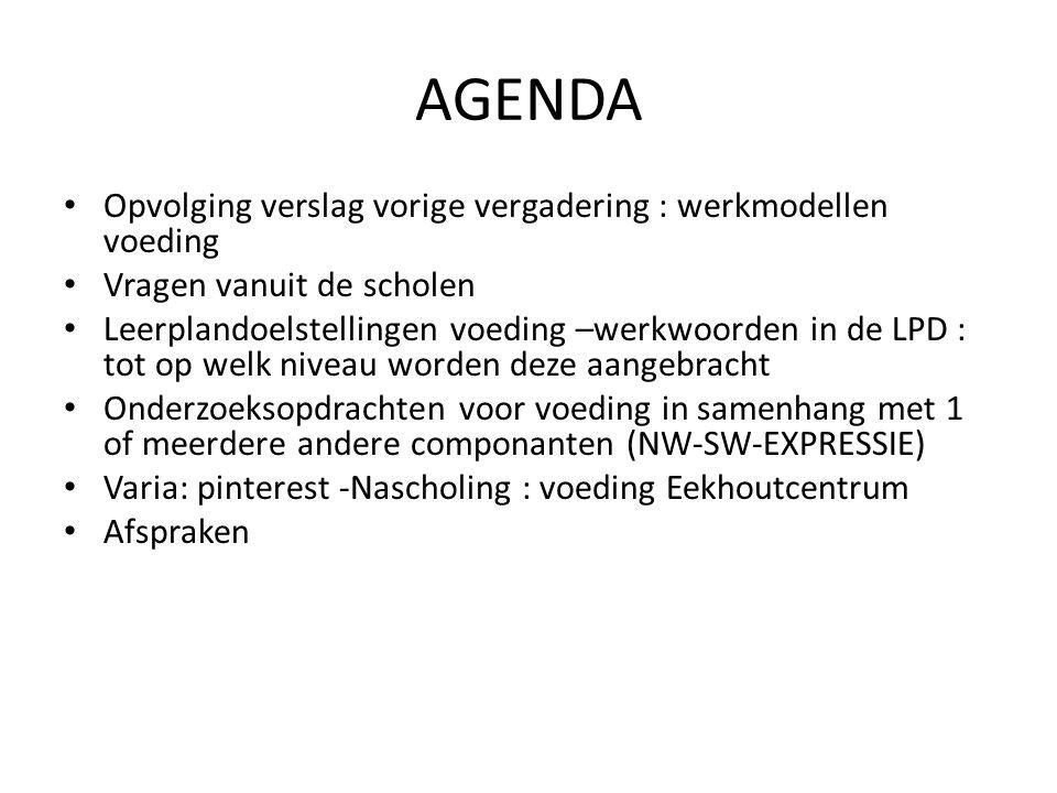 AGENDA Opvolging verslag vorige vergadering : werkmodellen voeding