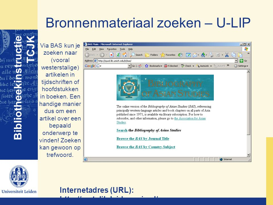 Bronnenmateriaal zoeken – U-LIP