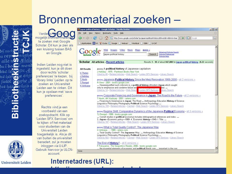 Bronnenmateriaal zoeken – Google