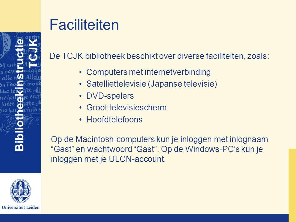 Faciliteiten Bibliotheekinstructie TCJK