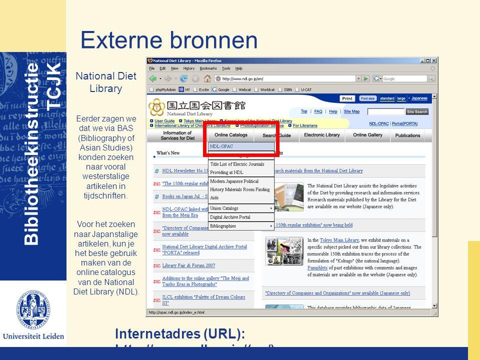 Externe bronnen Bibliotheekinstructie TCJK
