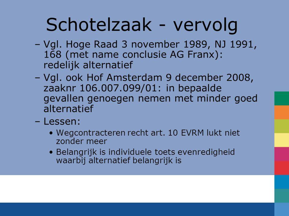 Schotelzaak - vervolg Vgl. Hoge Raad 3 november 1989, NJ 1991, 168 (met name conclusie AG Franx): redelijk alternatief.