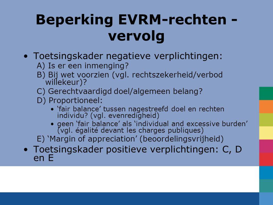 Beperking EVRM-rechten -vervolg