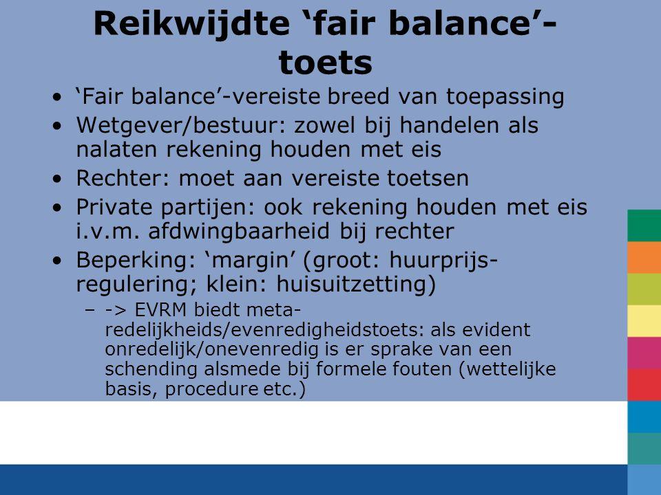 Reikwijdte 'fair balance'-toets