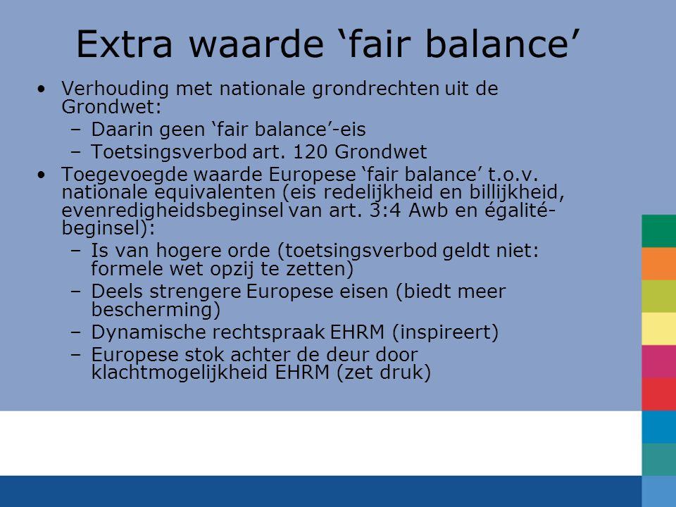Extra waarde 'fair balance'