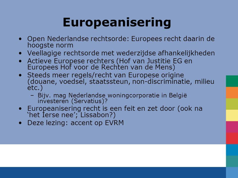 Europeanisering Open Nederlandse rechtsorde: Europees recht daarin de hoogste norm. Veellagige rechtsorde met wederzijdse afhankelijkheden.