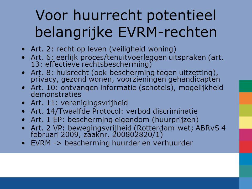 Voor huurrecht potentieel belangrijke EVRM-rechten
