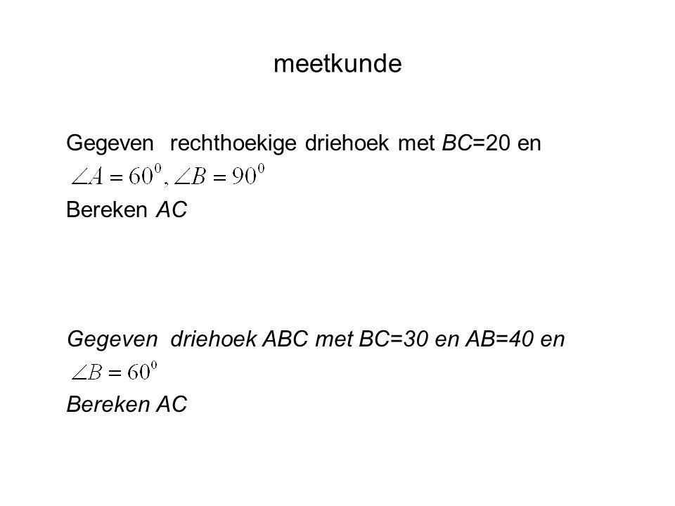 Gegeven rechthoekige driehoek met BC=20 en