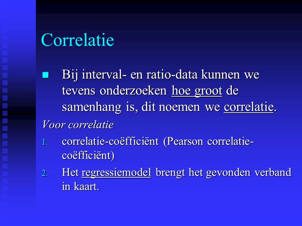 Correlatie Bij interval- en ratio-data kunnen we tevens onderzoeken hoe groot de samenhang is, dit noemen we correlatie.