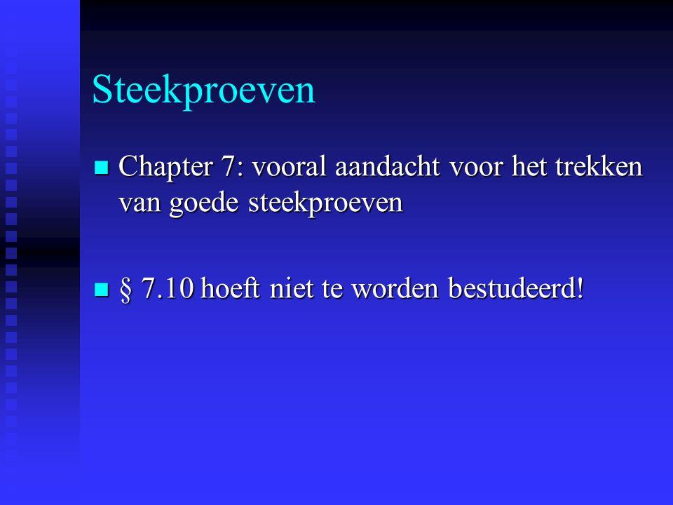 Steekproeven Chapter 7: vooral aandacht voor het trekken van goede steekproeven.