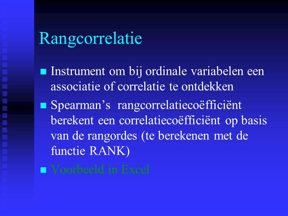 Rangcorrelatie Instrument om bij ordinale variabelen een associatie of correlatie te ontdekken.