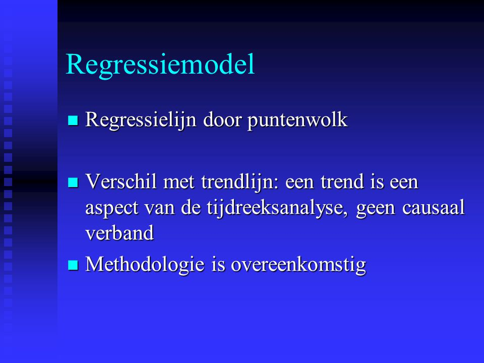 Regressiemodel Regressielijn door puntenwolk
