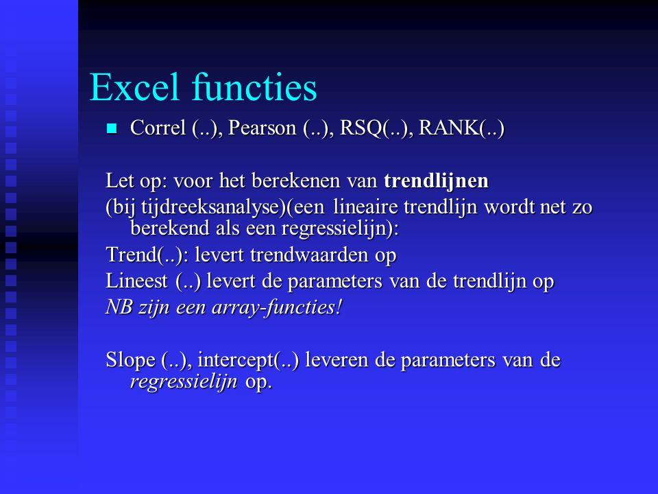 Excel functies Correl (..), Pearson (..), RSQ(..), RANK(..)