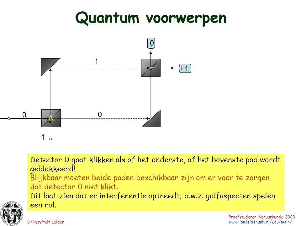 Quantum voorwerpen 1. 1. A. 1. Detector 0 gaat klikken als of het onderste, of het bovenste pad wordt geblokkeerd!