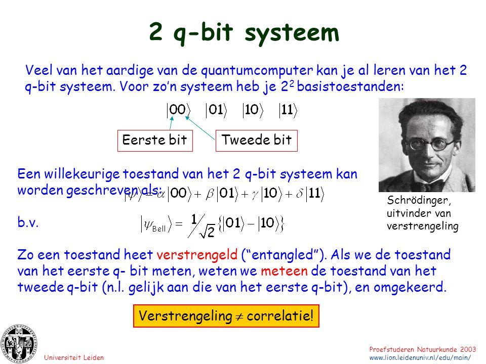 2 q-bit systeem Veel van het aardige van de quantumcomputer kan je al leren van het 2 q-bit systeem. Voor zo'n systeem heb je 22 basistoestanden: