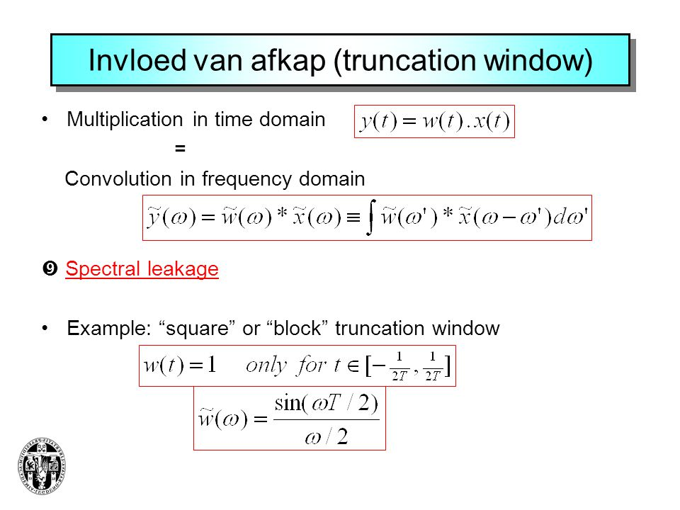 Invloed van afkap (truncation window)