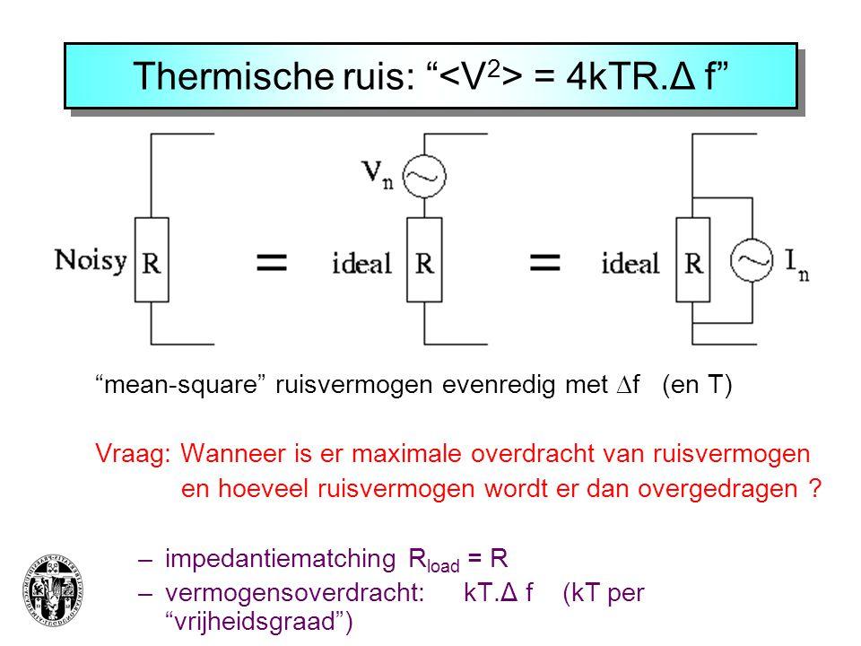 Thermische ruis: <V2> = 4kTR.Δ f